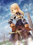 1girl agrias_oaks aiwatan armor blonde_hair blue_eyes clouds final_fantasy final_fantasy_tactics sky solo square_enix sword weapon
