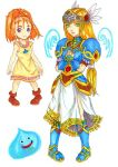 2girls armor armored_dress barbara blonde_hair circlet cosplay dragon_quest dragon_quest_vi forehead green_eyes high_ponytail lenneth_valkyrie lenneth_valkyrie_(cosplay) long_hair low-tied_long_hair mireyu multiple_girls parody ponytail redhead slime slime_(dragon_quest) tied_hair valkyrie_profile violet_eyes white_background