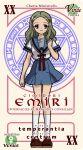 1girl card card_(medium) kimidori_emiri mahou_sensei_negima! pactio parody school_uniform serafuku solo suzumiya_haruhi_no_yuuutsu venus_symbol