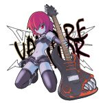 1girl blue_skin capcom full_body genderswap genderswap_(mtf) guitar instrument lowres midnight_bliss solo thigh-highs transparent_background vampire_(game) zabel_zarock