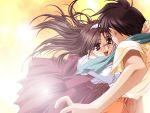 00s 1girl game_cg glasses hashimoto_takashi hug naruse_manami solo_focus with_you