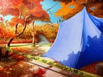 3days autumn blood caution_tape forest game_cg keep_out lass_(company) nature no_humans scenery still_life tape tent