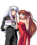 1boy 1girl alcohol animal_ears bare_shoulders cake choker couple crossover dog_ears dress evening_gown flirting food formal inuyasha inuyasha_(character) long_hair neon_genesis_evangelion one_eye_closed pastry redhead side_slit simple_background souryuu_asuka_langley strapless strapless_dress tuxedo wine wink