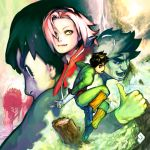 1girl 2boys bandage bandaged_arm bangs bent_over black_eyes black_hair bodysuit chad_walker clouds eyebrows forehead_protector green_eyes hairband haruno_sakura headband leg_warmers long_sleeves looking_at_another looking_away looking_to_the_side might_guy multiple_boys multiple_views naruto parted_bangs pink_hair rock_lee shoes smile standing sweat thumbs_up tree water