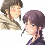 2girls bangs bleach blunt_bangs blush braid brown_hair hyuuga_hinata kurotsuchi_nemu long_hair looking_at_viewer mosha multiple_girls naruto open_mouth purple_hair short_hair single_braid violet_eyes white_eyes