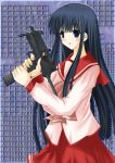 1girl black_hair blue_eyes cross_(crossryou) female gun kusakabe_yuuki long_hair mac-10 machine_pistol school_uniform serafuku solo submachine_gun to_heart to_heart_2 weapon