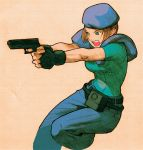 1girl :o angry armor belt belt_pouch bengus beret blue_eyes brown_hair capcom denim fighting_stance fingerless_gloves gloves gun handgun hat jeans jill_valentine leg_lift looking_away marvel marvel_vs._capcom marvel_vs._capcom_2 official_art open_mouth outstretched_arm pants pistol police police_uniform policewoman pouch profile resident_evil scan short_hair simple_background sketch solo uniform weapon
