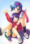 2girls ^_^ arm_up bent_over blue_eyes blue_hair buruma child closed_eyes gayarou green_ribbon jacket long_sleeves multiple_girls purple_hair ribbon shirt short_hair sitting smile socks track_jacket undressing white_legwear white_shirt zipper