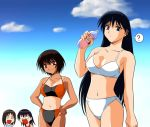4girls ? azumanga_daioh bikini black_hair blue_eyes bottle brown_eyes clouds hands_on_hips kagura kagura_(azumanga_daiou) kasuga_ayumu long_hair multiple_girls o_o one-piece_tan open_mouth sakaki short_hair spoken_question_mark swimsuit takino_tomo tan tanline white_bikini white_swimsuit