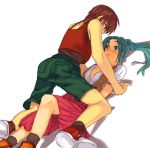 1boy 1girl blue_eyes blush breasts brown_hair cleavage couple dress green_eyes green_hair hetero higurashi_no_naku_koro_ni long_hair maebara_keiichi ponytail shorts skirt sonozaki_mion sora_(efr) tsurime vest