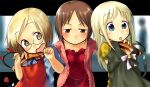 3girls ana_coppola bell blonde_hair blue_hair blush brown_eyes brown_hair child clothes_hanger collarbone demon_horns devil_horns fang glasses hairband horns hug ichigo_mashimaro itou_nobue jingle_bell looking_at_viewer multiple_girls negy polka_dot sakuragi_matsuri short_hair smile
