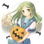 1girl bat green_eyes green_hair hair_ornament hairclip halloween jack-o'-lantern kimidori_emiri long_hair pumpkin solo suzumiya_haruhi_no_yuuutsu