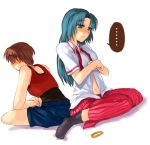 1boy 1girl back-to-back blue_eyes blue_hair brown_hair couple hetero higurashi_no_naku_koro_ni maebara_keiichi red_shirt shirt sitting sonozaki_mion sora_(efr) undressing