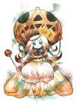 1girl brown_hair bubble_skirt dress flower green_eyes hair_flower hair_ornament halloween jack-o'-lantern kei_(keigarou) long_hair orange_dress pumpkin pumpkin_hat skirt socks solo white_background
