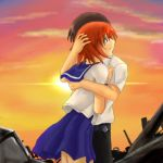 1boy 1girl blue_eyes brown_hair clouds couple hetero higurashi_no_naku_koro_ni hug lowres maebara_keiichi orange_hair ryuuguu_rena school_uniform serafuku sky sunset