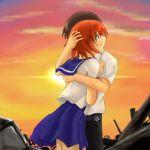 1boy 1girl blue_eyes brown_hair clouds couple hetero higurashi_no_naku_koro_ni hug lowres maebara_keiichi orange_hair ryuuguu_rena school_uniform serafuku sky sunset