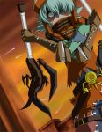 .hack// .hack//g.u. .hack//roots 1boy aqua_hair azure_kite bandai belt crazy_eyes crossed_arms cyber_connect_2 dual_wielding gloves green_eyes hair_over_one_eye hat male_focus outdoors sky solo strap sunset sword tri-edge weapon
