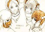 4girls artist_request genderswap group_hug haruno_sakura hatake_kakashi hug lowres monochrome multiple_girls naruko naruto orange_(color) uchiha_sasuke