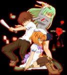 1boy 2girls baseball_bat billhook boots copyright_name hatchet higurashi_no_naku_koro_ni knife maebara_keiichi multiple_girls ryuuguu_rena sasago_kaze sonozaki_shion thigh-highs