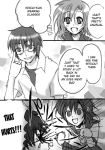 1boy 1girl blood comic glasses hard_translated higurashi_no_naku_koro_ni maebara_keiichi monochrome ryuuguu_rena smile translated