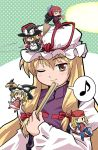 00s 1boy 4girls apron arc_system_works axl_low bandanna bangs blonde_hair blush bow braid broom cape chibi closed_eyes crossover dual_persona fan folding_fan guilty_gear hair_bow haniwa haniwa_(leaf_garden) hat hat_bow hat_ribbon japanese_clothes kimono kirisame_marisa kohaku long_hair long_sleeves master_spark mini-hakkero multiple_girls musical_note one_eye_closed open_mouth pants redhead ribbon sandals shirt sickle single_braid smile speech_bubble spoken_musical_note tabard touhou tsukihime vest weapon wings witch_hat yakumo_yukari yellow_eyes