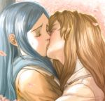 00s 2girls blue_hair blush brown_hair closed_eyes couple female fujino_shizuru kiss kuga_natsuki long_hair lowres maya_sawamura_anderson md5_mismatch multiple_girls my-hime petals realistic yuri
