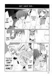 1boy 1girl 4koma blackmail comic crossdressing greyscale hard_translated highres higurashi_no_naku_koro_ni maebara_keiichi monochrome photo_(object) ryuuguu_rena translated