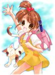 1girl backpack bag cat instrument kyon_no_imouto nyanmilla ponytail shamisen_(suzumiya_haruhi) side_ponytail solo suzumiya_haruhi_no_yuuutsu