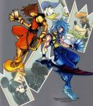 2boys bird brown_hair card disney dog donald_duck duck full_body gloves goofy hat holding holding_card hood keyblade kingdom_hearts kingdom_hearts_chain_of_memories male_focus marluxia mickey mickey_mouse multiple_boys nomura_tetsuya official_art organization_xiii riku sora_(kingdom_hearts) sword weapon white_hair
