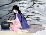 barefoot feet hands hime_cut japanese_clothes kettle kimono original sakamoto_mineji sitting yokozuwari