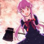 1girl axe blood bow creepy flipflops_(artist) gasai_yuno hair_ribbon long_hair lowres mirai_nikki purple_hair red_eyes ribbon solo staring takahata_yuki weapon yandere