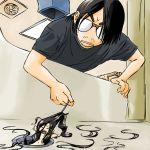 1boy 1girl artist_self-insert chibi facial_hair glasses hook john_su long_hair minigirl original personification pulling shower stubble tears
