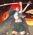 1girl alastor_(shakugan_no_shana) cape jewelry miniskirt pendant redhead sakamoto_mineji school_uniform serafuku shakugan_no_shana shana skirt sword thigh-highs weapon zettai_ryouiki