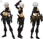 .hack// .hack//g.u. .hack//roots 1boy armpits bandai belt boots character_sheet cyber_connect_2 elbow_gloves gloves hack hand_on_hip haseo haseo_(.hack//) hips male_focus midriff silver_hair solo tattoo thigh_strap turnaround watermark