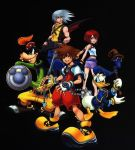 1girl 2boys beak beret bird black_background blue_eyes brown_hair disney donald_duck duck fingerless_gloves full_body gloves goofy hat kairi kairi_(kingdom_hearts) keyblade kingdom_hearts kingdom_hearts_i long_sleeves looking_at_viewer military military_uniform multiple_boys naval_uniform official_art red_shirt redhead riku shirt short_hair silver_hair simple_background sora_(kingdom_hearts) spiky_hair standing talons uniform white_gloves