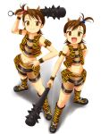 2girls :d blue_oni boots club cool_&_sexy_(idolmaster) cosplay flipped_hair futami_ami futami_mami idolmaster kanabou multiple_girls nishi_(count2.4) oni open_mouth red_oni siblings sisters smile tetsubo_(weapon) tiger_print twins weapon