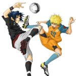 10rankai 2boys adidas ball bike_shorts black_hair blonde_hair blue_eyes blue_hair bracelet clothes_writing contemporary high_kick jewelry jumping keroyon-jima kicking kneehighs konohagakure_symbol lowres male_focus mizuno multiple_boys naruto open_mouth red_eyes roteiro shoes smile sneakers soccer soccer_ball soccer_uniform socks spiky_hair sport sportswear uchiha_sasuke uniform uzumaki_naruto whisker_markings wristband