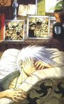 1boy closed_eyes collarbone fingernails haruno_sakura hatake_kakashi kishimoto_masashi marker_(medium) namikaze_minato naruto naruto_shippuuden nohara_rin official_art sleeping solo traditional_media uchiha_obito uchiha_sasuke uzumaki_naruto white_hair