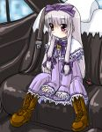 1girl 3.1-tan boots bow car car_interior dd_(ijigendd) dress gothic ground_vehicle hair_bow indoors long_hair motor_vehicle os-tan silver_hair sitting solo vehicle