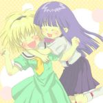 2girls artist_request blonde_hair blue_hair blue_skirt blush bow bowtie closed_eyes dress furude_rika green_dress green_skirt higurashi_no_naku_koro_ni houjou_satoko hug hug_from_behind long_hair lowres multiple_girls pink_bow plait skirt smile suspenders teeth white_legwear yellow_bow yellow_bowtie