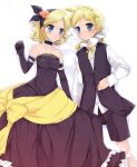 blonde_hair blue_eyes brother_and_sister choker dress elbow_gloves gloves gothic kagamine_len kagamine_rin lying on_back short_hair siblings twins vocaloid yu_(pixiv)