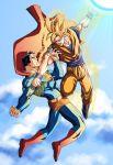 alien cape crossover dc_comics dragon_ball dragon_ball_z dragonball dragonball_z epic flying kryptonian male manly mikemaluk s_shield son_goku son_gokuu super_saiyan superman superman_(series)