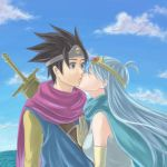 cape circlet closed_eyes dragon_quest dragon_quest_iii elbow_gloves gloves kiss long_hair milk1110 roto sage_(dq3) sword weapon