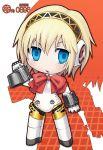 1girl aegis aegis_(persona) android atlus blonde_hair blue_eyes bow chibi cyborg kei_jiei persona persona_3 ribbon robot robot_joints solo