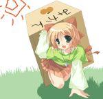 00s 1girl 2006 blonde_hair blush box cardboard_box fang female green_eyes hair_ornament hair_ribbon happiness! kohinata_sumomo mikan_box miniskirt ribbon skirt solo
