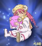 1girl blush_stickers closed_eyes duel duel_monster hug long_hair lowres miirkat monster pikeru pink_hair redhead scapegoat sitting smile twintails white_magician_pikeru yu-gi-oh!