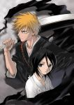 1boy 1girl black_hair bleach blue_eyes brown_eyes hair_between_eyes japanese_clothes kedo_mitsuharu kuchiki_rukia kurosaki_ichigo orange_hair robe short_hair sword weapon zangetsu