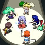 1boy 6+girls billhook blonde_hair blue_hair broccoli brown_hair dual_wielding everyone furude_rika green_hair hanyuu hatchet higurashi_no_naku_koro_ni houjou_satoko lowres maebara_keiichi multiple_girls o_o oekaki orange_hair parody ryuuguu_rena scryed scythe seiyuu_connection siblings sisters sonozaki_mion sonozaki_shion stun_gun taser twins