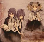 3girls book cauldron conjoined drill_hair glasses jinno_(icarus) multiple_girls siblings steam twins witch yellow_eyes