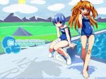 2girls arms_behind_back ayanami_rei bandage bandaged_arm bandaged_leg bandaid bandaid_on_knee bangs barefoot blue_eyes blue_hair blush blush_stickers bobby_socks brown_eyes covered_navel feet hair_bobbles hair_ornament highres knees_together_feet_apart long_hair looking_at_viewer multiple_girls name_tag neon_genesis_evangelion off_shoulder one-piece_swimsuit orange_hair pool school_swimsuit short_hair sitting smile socks souryuu_asuka_langley standing starting_block swimsuit wallpaper watanabe_akio white_legwear